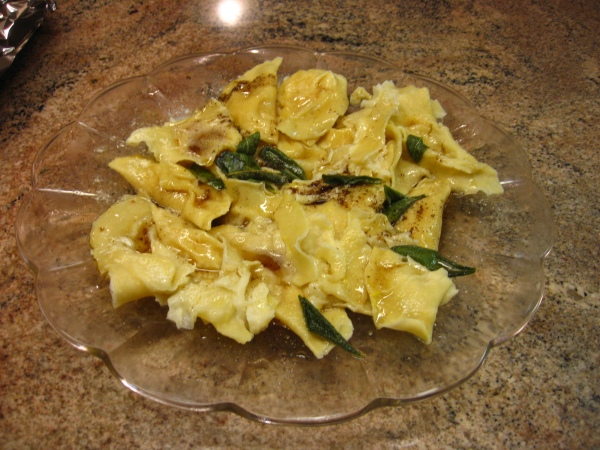 pumpkin ravioli with sage brown butter sauce